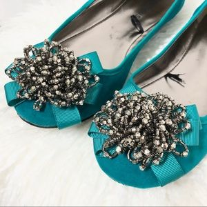 Dollhouse Turquoise Beaded 'Sami' Flats
